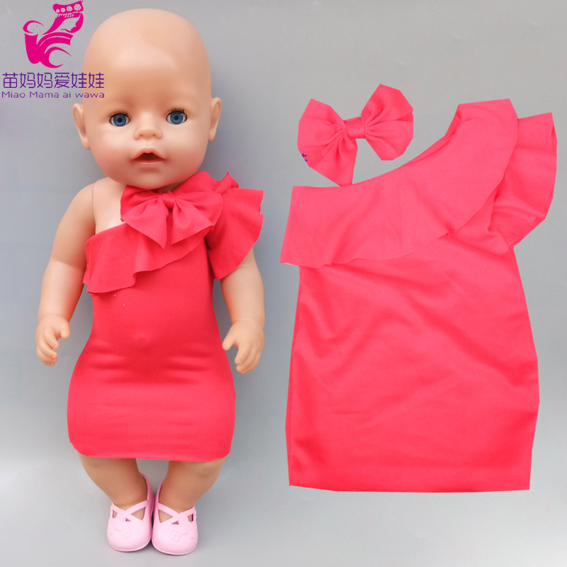 43cm New Born Baby Doll Red Party Dress Children Girl Gift 18 Inch American Generation Girl Doll Evening Dress