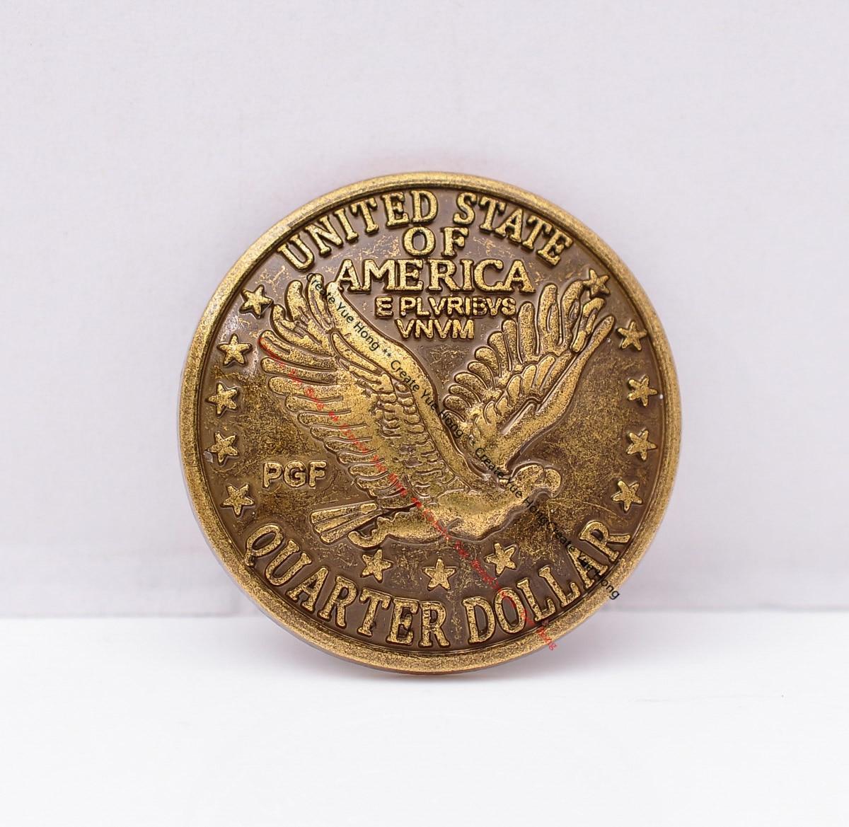 10 pçs diy leathercraft ferragem sela moeda concho voando águia dólar moeda concho bronze antigo chapeado