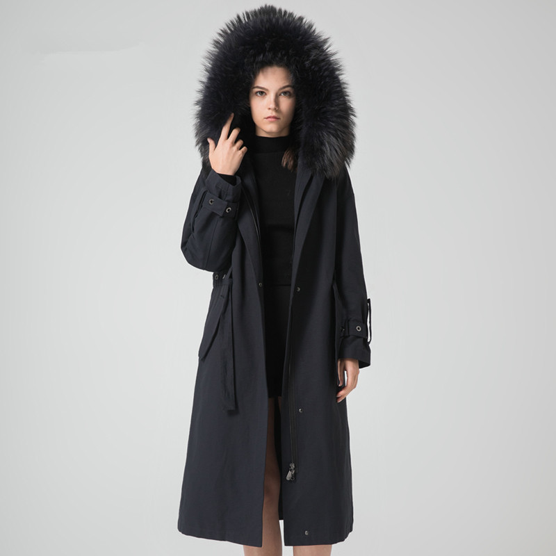 Fur Real Parka Coat Female Natural Rabbit Fur Liner Long Coats 2020 Winter Jacket Women Raccoon Fur Collar Overcoat MY S
