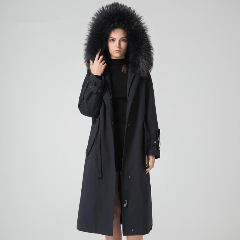 Fur Real Parka Coat Female Natural Rabbit Fur Liner Long Coats 2020 Winter Jacket Women Raccoon Fur Collar Overcoat MY S