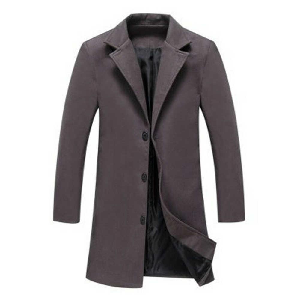 Mannen wol blends jassen Winter Lange Jas Blends effen kleur Jas Mannen single-breasted windbreaker Wools Plus size casual heren Jas