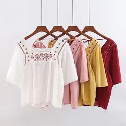 Tide Women Sweet Embroidery Loose Blouses Top Female Cotton Square Collar Shirts Solid Casual Back Lace-Up Shirts