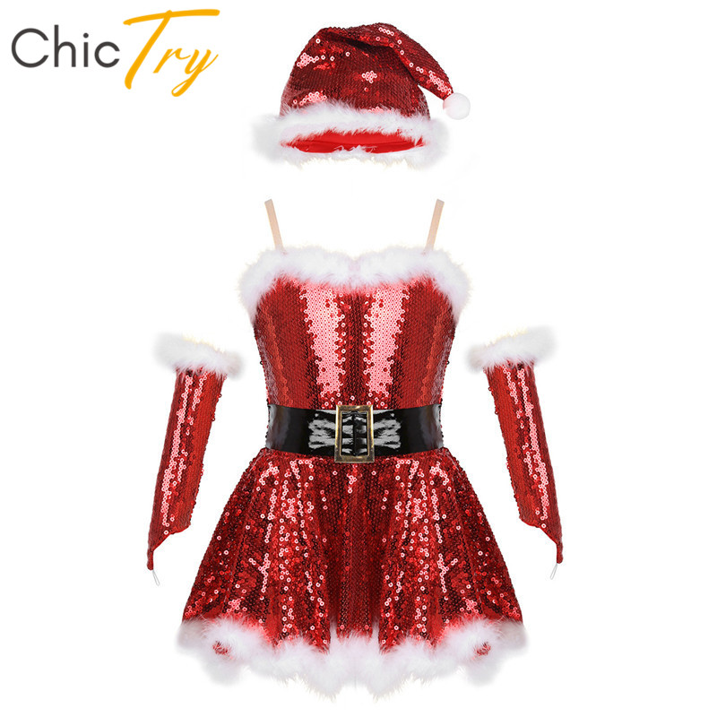 ChicTry Girls Sequined Figure Skating Dress Tutu Ballet Leotard Set Kids Christmas Holiday Santa Stage Performance Dance Costume