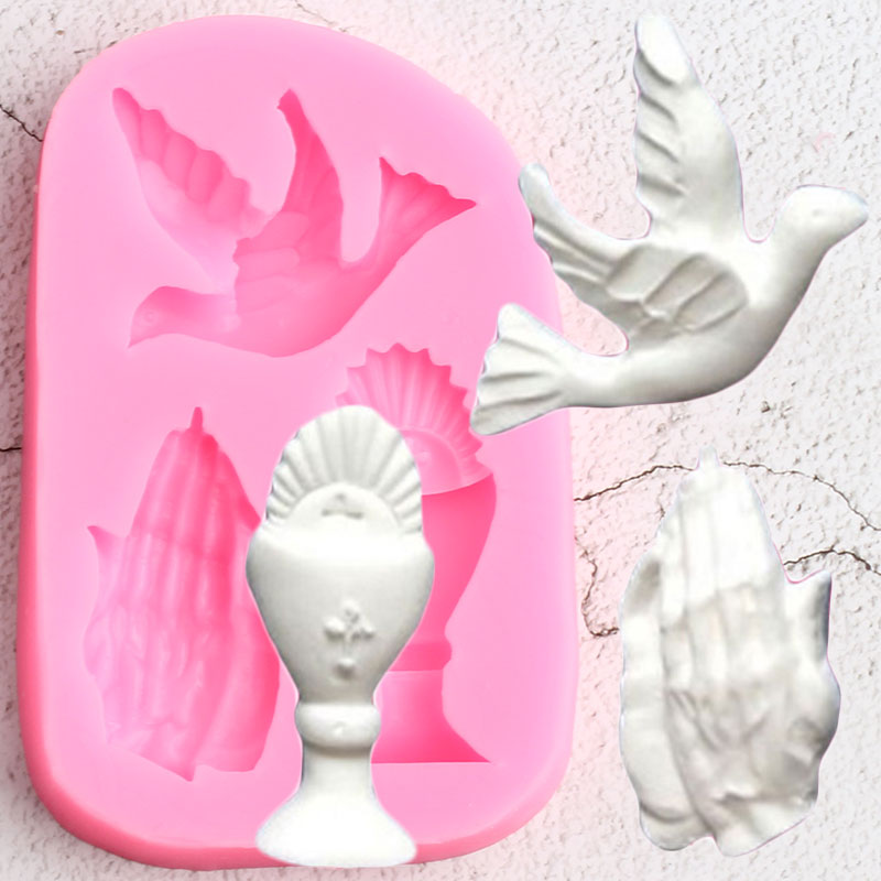 Hand Pigeon Silicone Molds Wedding Cake Decorating Tools Cupcake Topper Fondant Mold Candy Ploymer Clay Chocolate Gumpaste Mould