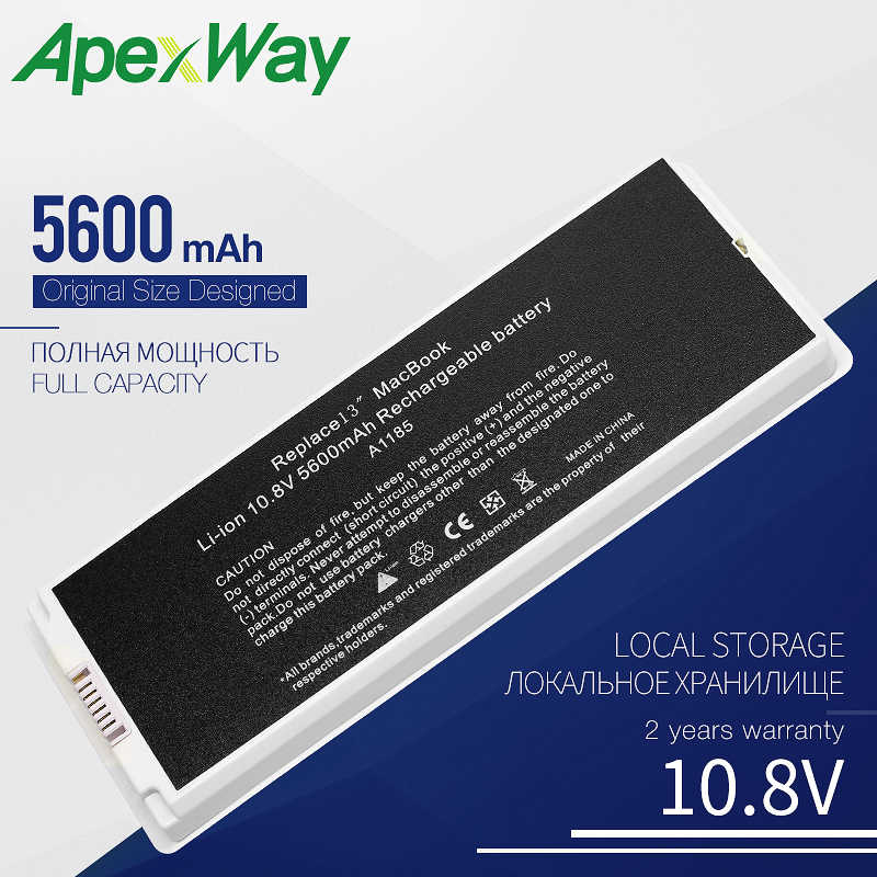"Apexway batterie d'ordinateur portable blanc pour Apple MacBook 13 ""A1185 A1181 MA561 MA561FE/A MA561G/A MA254 5600 mAh 10.8V"
