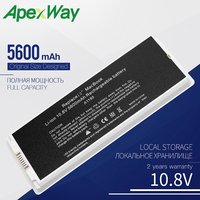 "Bateria branca do portátil de apexway para apple macbook 13 ""a1185 a1181 ma561 ma561fe/a ma561g/a ma254 5600 mah 10.8 v Baterias p/ laptop     -"