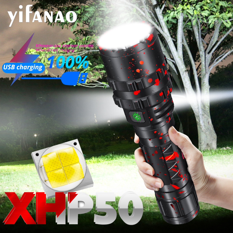 80000Lumens Profession Tactical Led Flashlight USB Rechargeable 18650 26650 Battery Torch Waterproof Hunting Light XML2 XHP50.2