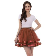 2 Layers Short Tulle Petticoat Underskirt 45CM Length Satin Edge Keen Women Bridal