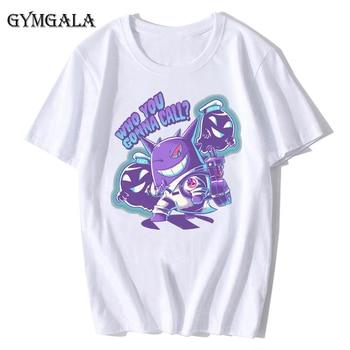 100% cotton anime cartoon Geng ghost printed men's T-shirt summer cotton short-sleeved T-shirt fashion tops tee men's clothing f - XQ-122white, Asian size XS