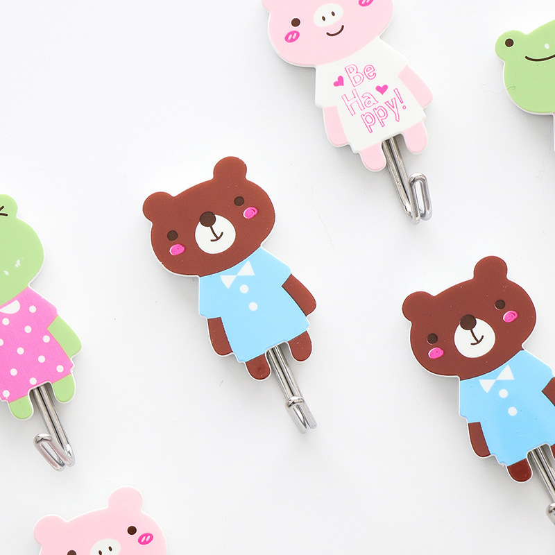 B99 Aihao Stationery Strong Adhesive Hook Cartoon Animal Cute Creative Styling Adhesive Hook Three-Plastic Blister Card-