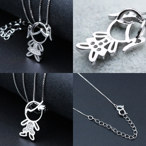 Image 5 - Newranos 925 Sterling Silver Pendant Necklace Zirconias Girl Boy Charm Pendant Family Necklace Fashion Women Jewelry NFL001684