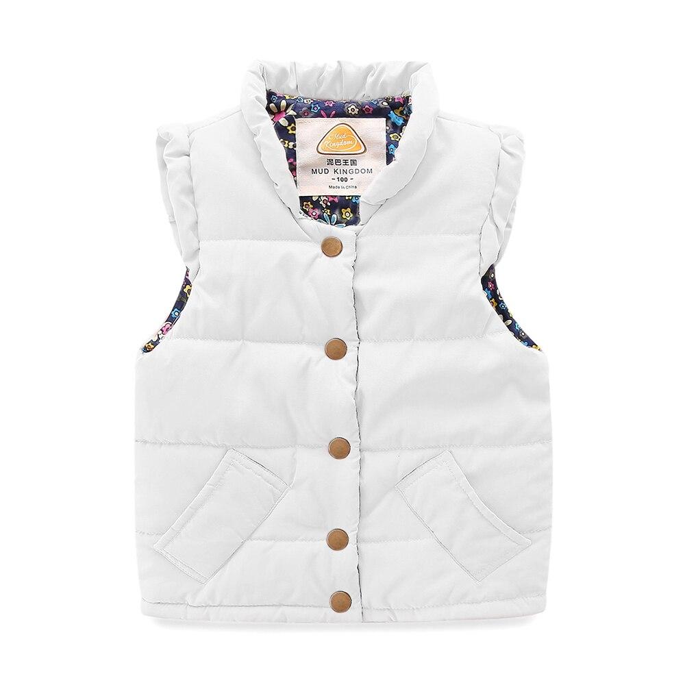 Mudkingdom Girls Vest Stand Collar Solid Sleeveless Jacket Girls Vests Winter Baby Waistcoat Kids Gilet Fille Coats 3