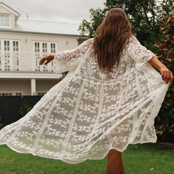 2020 New Sexy Lace Embroidered Beach Cover Up Women Bikini Swimsuit Cover Up Beach Dress Cardigan Tunics Bathing Suits Cover-Ups 5