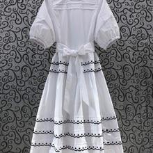 100%Cotton Women's Dress 2021 Summer Fashion Ladies O-Neck Polka Dot Embroidery Short Sleeve Big Swing Casual White Yellow Dress