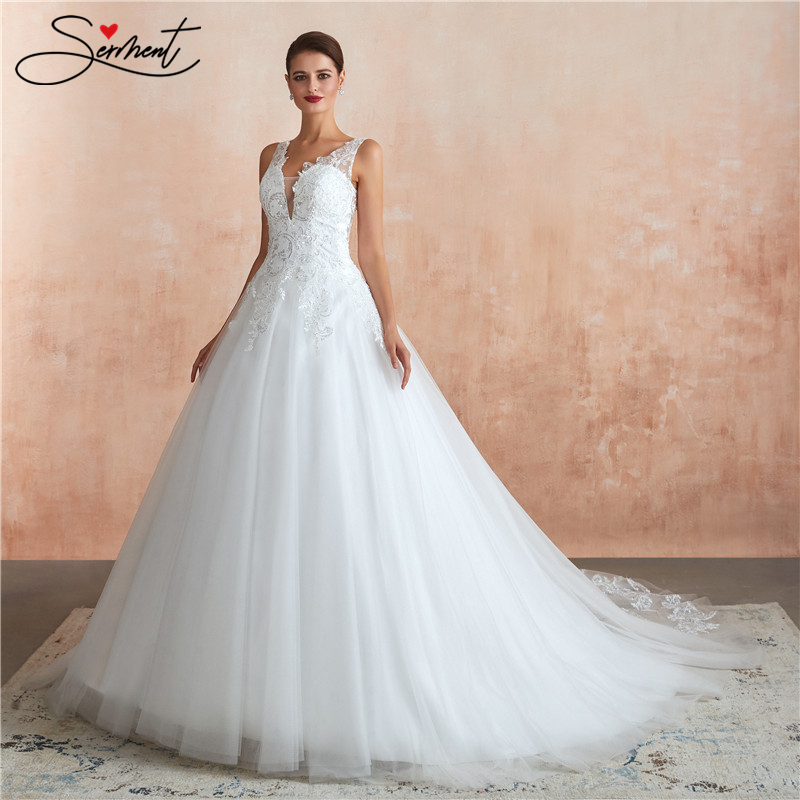 SERMENT Luxury Lace Wedding Dress Suitable For Church Beach Park Wedding V-neck Lace Up Floor-Length Free Custom Made Plus Size