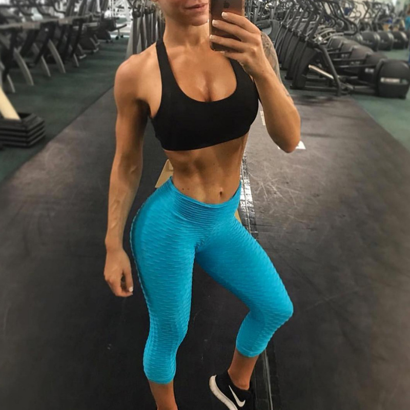 2018 New Style Leggings Breathable Buttock Lifting Sweat Absorbing Sports Capri Pants Slimming Tight Yoga Pants WOMEN'S Dress