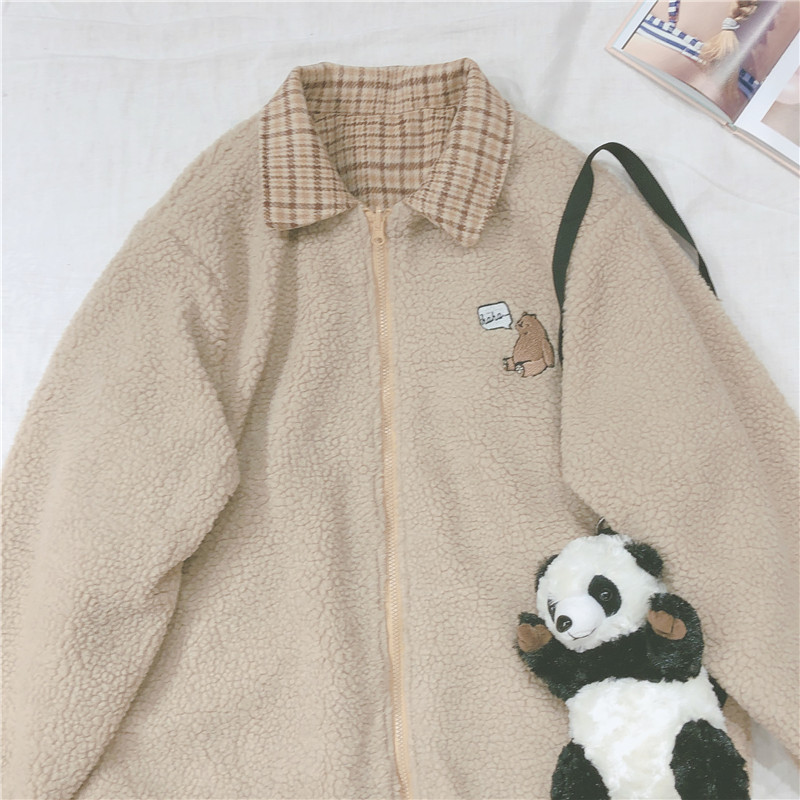 Lamb Wool Coat Bear Embroidery Cute Women Student Thicken Plaid Jacket Small Fresh Soft Sister Loose Long Sleeve Outer Wear Tops