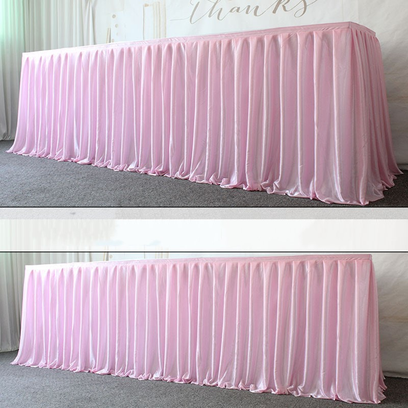 Ice Silk Wedding Table Skirt For Tablecloth Table Cover Wedding Stage White Ice Silk Table Skirting Decoration