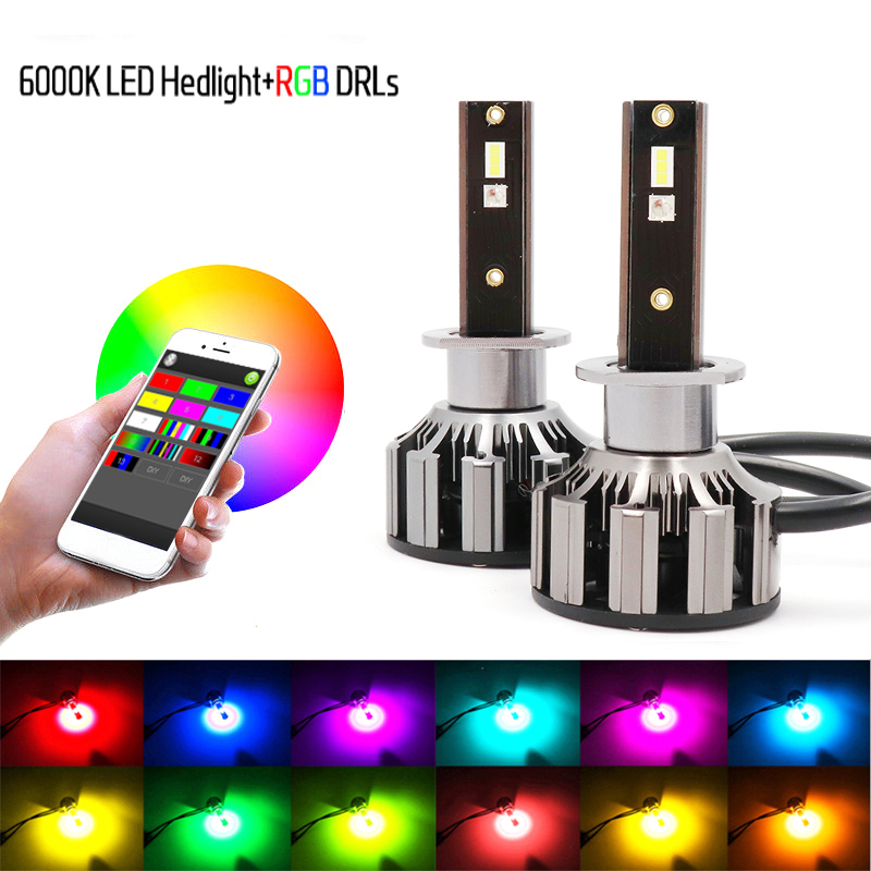 Niscarda 2Pcs <font><b>H4</b></font> H1 H3 H7 H8 H11 9005 9006 80W Car LED <font><b>RGB</b></font> Headlight Kit Phone APP Bluetooth Control Bulb Lamp image