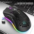 Беспроводная игровая мышь, 2,4 ГГц, 7 кнопок, 1600 DPI, регулируемая перезаряжаемая мышь с RGB подсветкой, легкая игровая мышь с сотовым корпусом