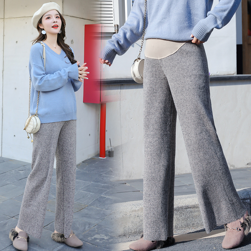 904# Wide Leg Loose Maternity Pants Autumn Winter Thicken Warm Knitted Pants Clothes For Pregnant Women Slim Pregnancy Trousers