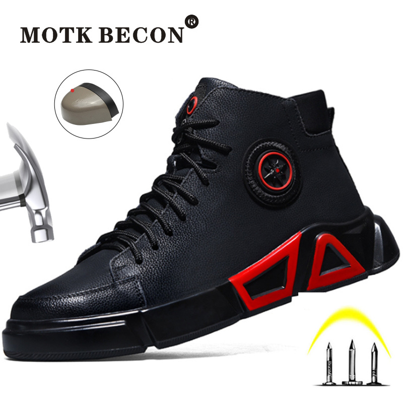 MOTK BECON Quality Waterproof Working Safety Shoes For Men Indestructible Outdoor Ankle Boots Puncture-Proof Sneakers L114