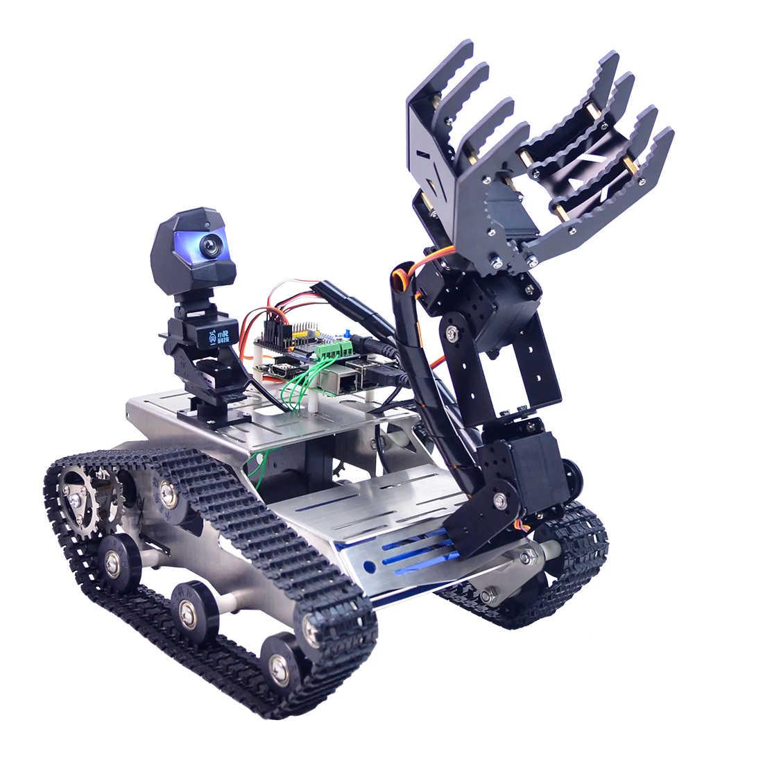 โปรแกรมหุ่นยนต์ DIY WIFI + บลูทูธสแตนเลสแชสซี TRACK ถังไอน้ำการศึกษารถสำหรับ Raspberry Pi 3B +