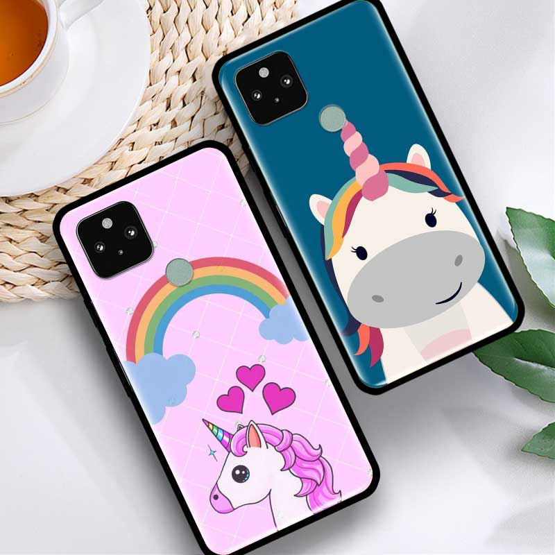 Phone Case For Google Pixel 4 XL 4 4A 5G Fundas For Pixel 5 Soft Silicone Cover Back Cases Coque Unicorn On Rainbow Jetpack Bag