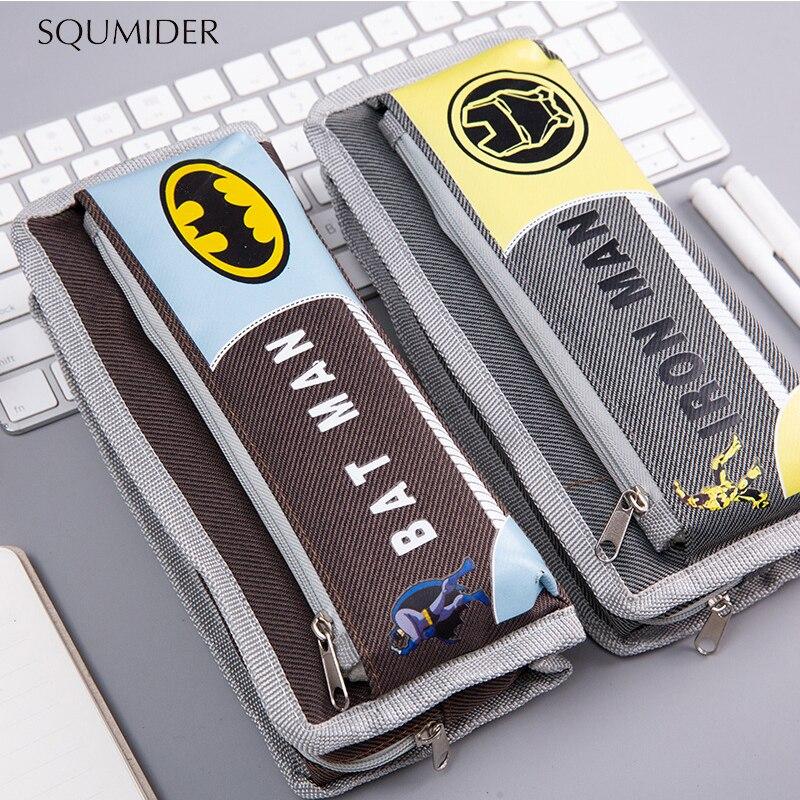 SQUMIDER Creative Pencil Case Superhero Pencil Box Zipper Large-capacity Bag For Student Gift Cute School Stationery Supplies
