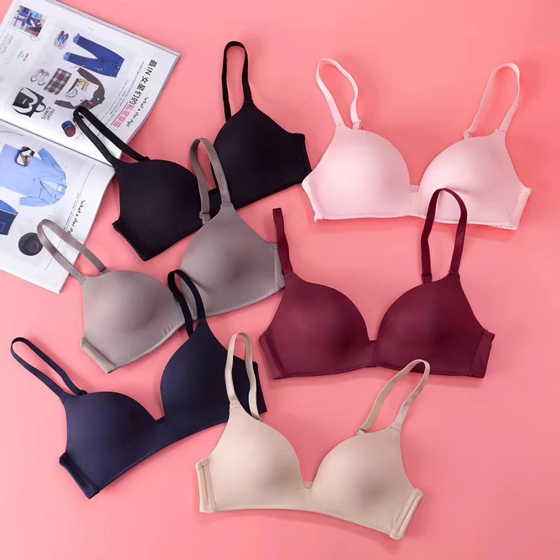 1Pcs Thin Seamless Bras for Women Push Up Wire Free Adjustable Sexy Bra Bright Summer Lingerie Bras Solid Breathable Underwear