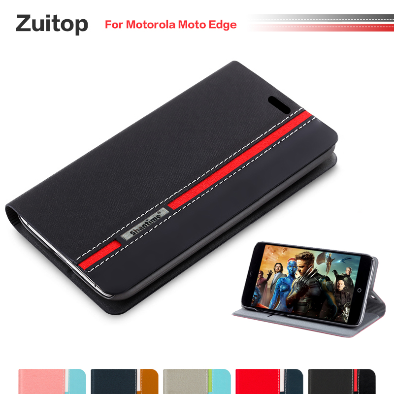 Cowboy PU Leather Phone Bag Case For Motorola Moto Edge Flip Case For Motorola Moto Edge Business Case Soft Silicone Back Cover