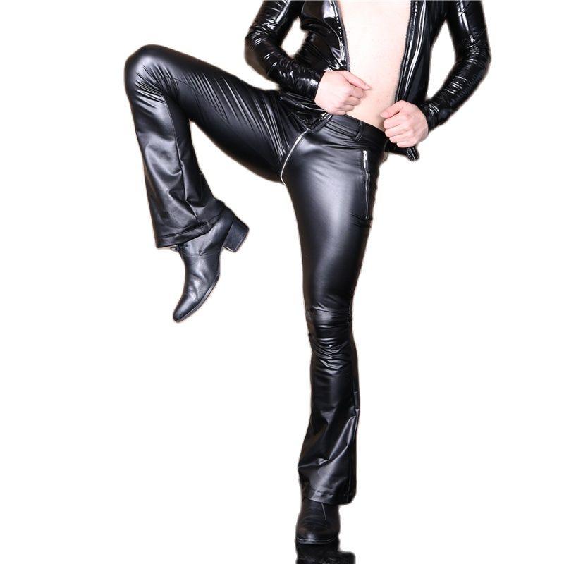 Sexy Men Faux Leather Pu Matte Shiny Fashion Pants Elastic Soft Skinny Gay Pants Zipper Open U Crotch Flare Pants Gay Wear F108