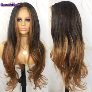 Hermoso diario, pelucas de pelo sintético con encaje en frente de Color degradado para mujeres negras, largo ondulado 13X6, peluca con malla frontal, parte media libre