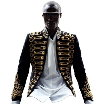 Chaqueta de bordado dorado para hombre, elegante Blazer negra para discoteca, traje de cantante o presentador de estilo europeo C Studio Stage Wears