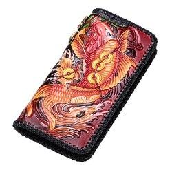 Высококачественные кошельки ручной работы из натуральной кожи, китайские сумки для карпа, кошельки для женщин и мужчин, клатч, кожаный бума...
