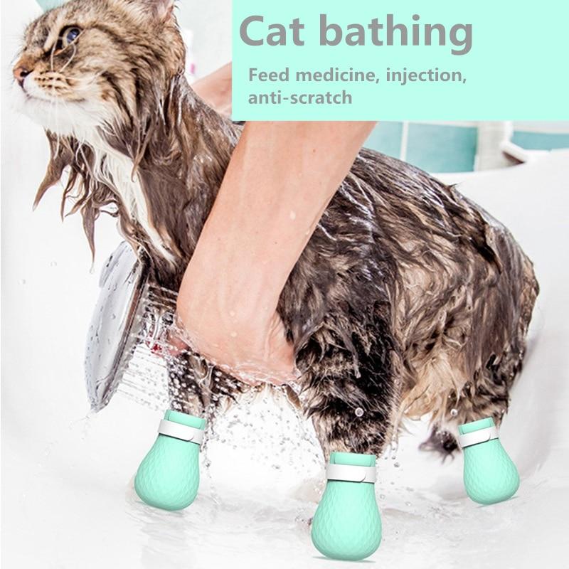 4-piece pet cat anti-scratch shoes, cat foot accessories, adjustable anti-scratch cat gloves, cat cleaning tools, pet supplies