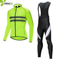 Spor ve Eğlence'ten Bisiklet Takımları'de WOSAWE rüzgar geçirmez yansıtıcı bisiklet ceketleri setleri su geçirmez rüzgarlık jel pedi önlüğü pantolon üniforma takımı binme giyim