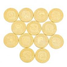 GOLD สเปนงานแต่งงาน Arras de Boda เหรียญของขวัญกล่อง Unity เหรียญชุด Spaish Arraz เหรียญงานแต่งงานคู่เจ้าสาวเครื่องประดับ Qiqi