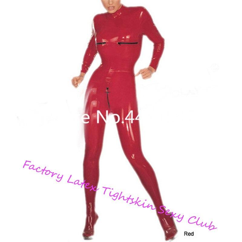 100% Nature Latex collants en caoutchouc body Latex femmes Catsuit Corsetry Latex dos Zipper poitrine Zipper Catsuit sur mesure