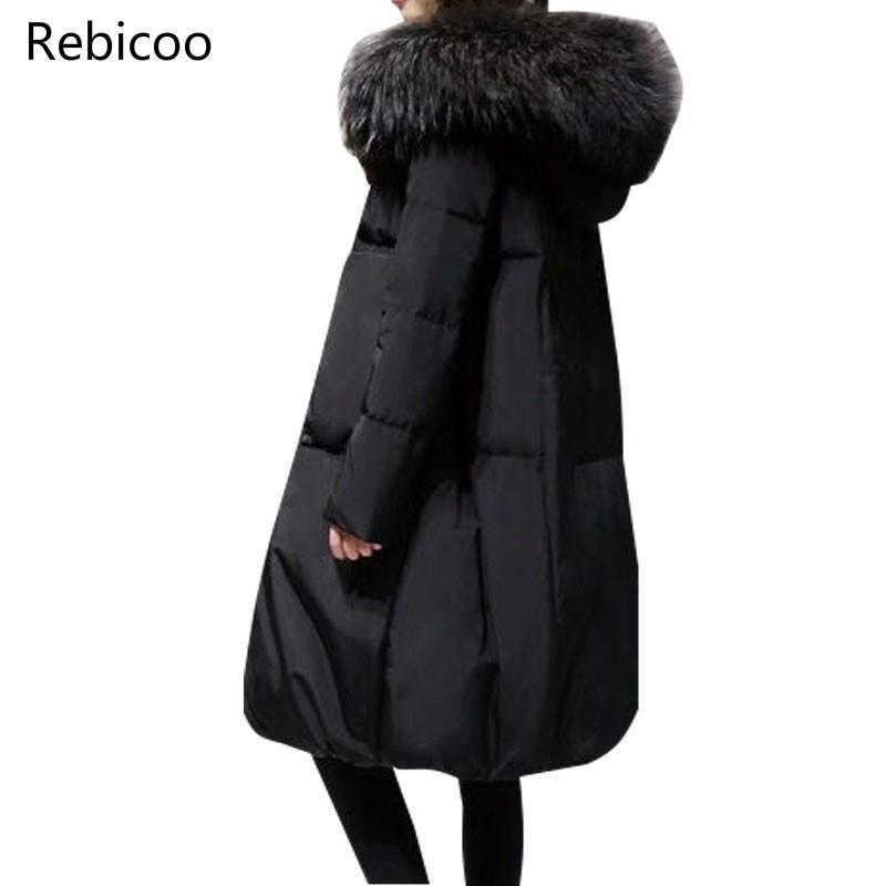 Plus Größe 5XL Winter Frauen Lose Dicke Warme Jacke Weibliche Faux Pelz Kragen Mit Kapuze Unten Baumwolle Mantel Parkas Outwear
