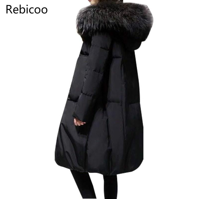 Plus Size 5XL 2019 Winter Women Loose Thick Warm Jacket Female Faux Fur Collar Hooded Down Cotton Coat   Parkas   Outwear