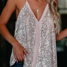 2020 New Fashion Hot Sexy Women Camisole Casual V Neck Sequi