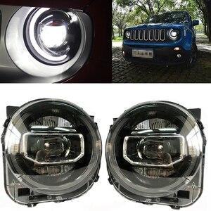 Image 2 - ل Jeep Renegade 2015 2018 المصابيح الأمامية LED DRL تشغيل أضواء ثنائية زينون شعاع عيون الملاك مصباح السيارات الأمامي
