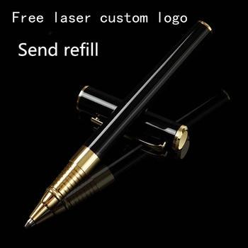 High-end business black metal signature pen advertising gift pen free laser custom LOGO metal neutral orb pen недорого