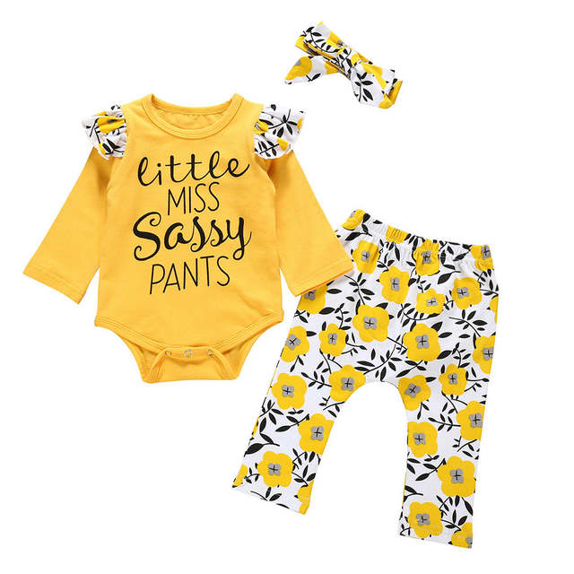 Kids Toddler Baby Girl Letter Romper+Floral Sassy Pants+Hairband Outfits Set LT