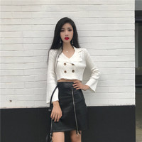 Autumn Clothing 2019 New Style South Korea chicv Collar Solid Color Double Breasted Sweater Women's Versitile Fashion Leakage Cr