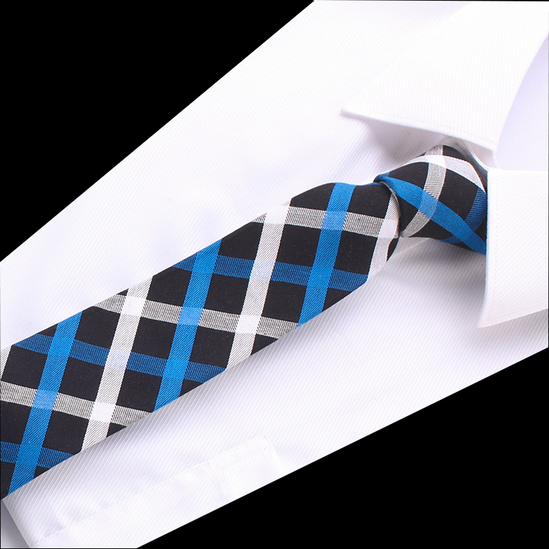 Design Necktie Cotton Skinny Ties For Men Red Blue Stripe Plaid Business Formal Dress Accessories Wedding Men's Classic Necktie