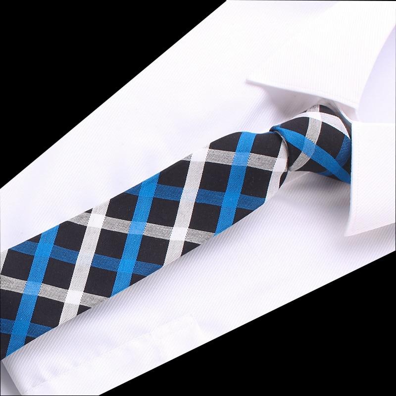 Design Necktie Cotton Skinny Ties For Men Red Blue Stripe Plaid Business Formal Dress Accessories Wedding Men's Classic Necktie