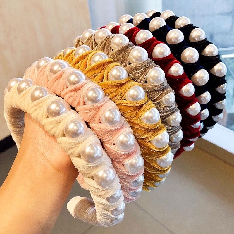New Fashion Women Boutique Pearls Velvet Wide-brimmed Hairbands Elegant Headband Hair Ornament Headwear Lady Hair Accessories