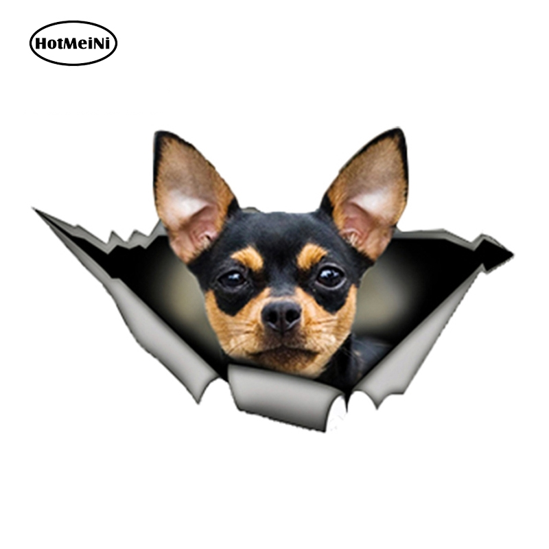 HotMeiNi 13cm X 8.3cm Black And Tan Chihuahua Vinyl Sticker Torn Metal Decal Reflective Stickers Waterproof Car Sticker Decals